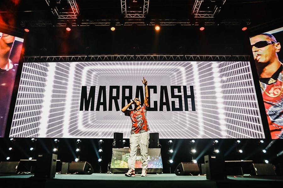 RDS Stadium di Rimini. Marracash si esibisce sul palco del palazzetto dello sport di Rimini.